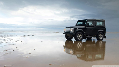 Land Rover by the beach